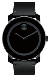 Movado 'Bold' Leather Strap Watch 42Mm Grey Black