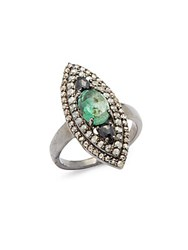 Bavna Diamond Emerald And Sterling Silver Ring
