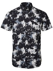 Selected Homme Allover Palm Print Short Sleeve Shirt Black