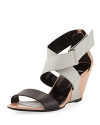 Pierre Hardy Crisscross Striped Leather Sandal Gray