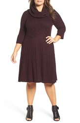 Eliza J Plus Size Women's Cowl Neck Fit And Flare Sweater Dress Wine