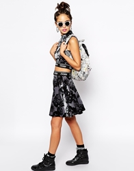 Jaded London Skater Skirt In Velvet With All Over Floral Print Co Ord Grey