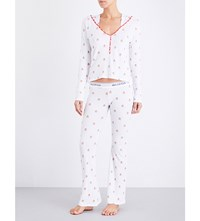 Wildfox Couture Raining Gingerbread Jersey Pyjama Set Clean White