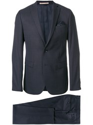 Paoloni To Piece Suit With Pocket Square Acetate Viscose Virgin Wool Blue