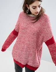Asos Chunky Jumper In Oversized And Sports Blocking Red