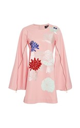 Polite Floral Applique Cape Dress Pink