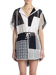3.1 Phillip Lim Hooded Cotton Eyelet Patchwork Tunic Multicolor