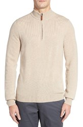Nordstrom Men's Big And Tall Men's Shop Regular Fit Cashmere Quarter Zip Pullover Tan Nantucket