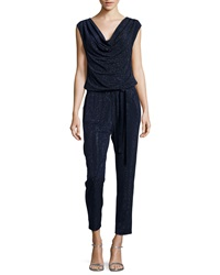 Grayse Cowl Neck Embellished Jumpsuit Dark Blue