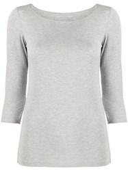 Majestic Filatures Cropped Sleeves Jumper Grey