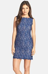 Women's Adrianna Papell Boatneck Lace Sheath Dress Prussian Nude