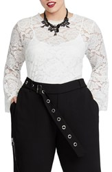 Rachel Roy Plus Size Vivian Lace Top White