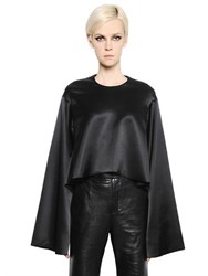 Ellery Cropped And Flared Silk Satin Top