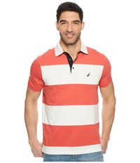 Nautica Short Sleeve Rugby Stripe Polo Sailor Red Clothing