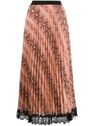 Twin Set Snake Print Pleated Skirt Neutrals