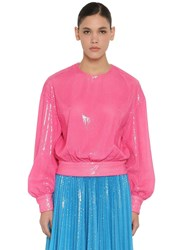 Msgm Pm Sequined Techno Shirt Pink