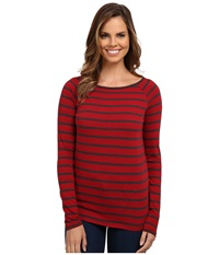 Jag Jeans Brier Stripe Tee Classic Fit Shirt Striped Jersey Hot Tamale Women's T Shirt Red
