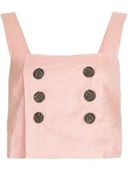 Suboo Button Detail Cropped Top Pink