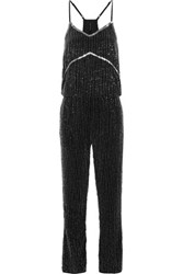 W118 By Walter Baker Tina Beaded Chiffon Jumpsuit Black