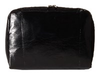 Lesportsac Luggage Xl Rectangular And Square Cosmetic Combo Black Crinkle Patent Travel Pouch