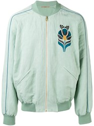 Nuur Floral Patch Bomber Jacket Green