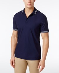 Club Room Men's Striped Trim Cotton Polo Only At Macy's Navy Blue