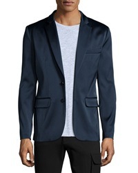 Atm Satin Two Button Blazer Navy