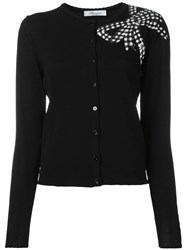 Blumarine Sequin Bow Cardigan Black