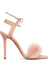 Charlotte Olympia Salsa Feather Trimmed Suede Sandals Blush