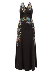 Etro Bristol Floral Embroidered Silk Gown Black Multi