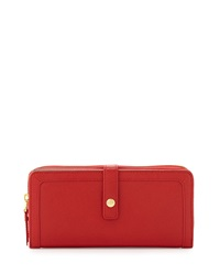 Neiman Marcus Saffiano Leather Zip Tab Long Wallet Red