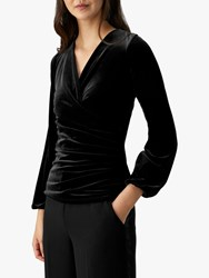 Pure Collection Jersey Gathered Cuff Wrap Top Black Velour