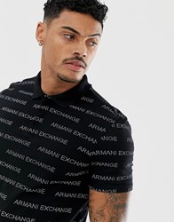 Armani Exchange All Over Text Logo Polo In Black