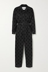 Fendi Belted Flocked Cotton Blend Jumpsuit Black