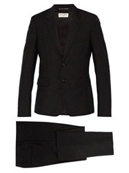 Saint Laurent Slim Fit Striped Wool And Mohair Blend Suit Black