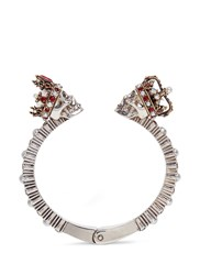 Alexander Mcqueen King And Queen Skull Swarovski Crystal Cuff Metallic