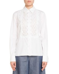 Andrew Gn Classic Lace Trim Poplin Blouse White