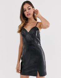 Moon River Faux Leather Strappy Mini Dress Black