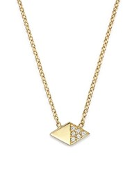 Zoe Chicco 14K Yellow Gold Half Pave Diamond Shape Necklace 16 White Gold
