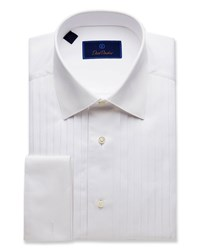 David Donahue Regular Fit Pleated Front Formal Dress Shirt White