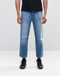 Religion Rehab Ripped Jeans In Mid Blue Washed Blue