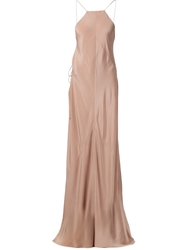 Kaufmanfranco Halter Neck Open Back Dress Nude And Neutrals
