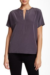 Zoa Short Sleeve Split Neck Blouse Gray