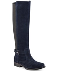 Tommy Hilfiger Suprem Riding Boots Women's Shoes Navy Suede