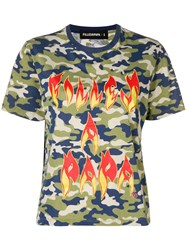 Filles A Papa Fire Printed T Shirt Green