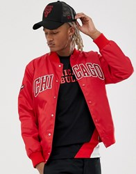 New Era Nba La Chicago Bulls Jacket With Large Chest Logo In Red