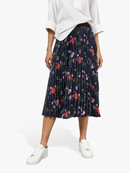 Ted Baker Luish Pleated Floral Midi Skirt Dark Blue Multi
