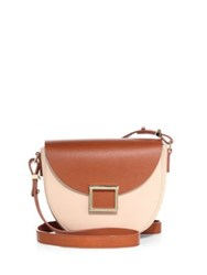 Jason Wu Mini Jaime Two Tone Leather Saddle Bag Pink Curry Black Curry