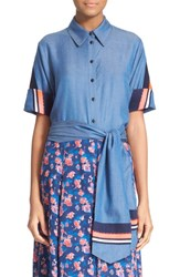 Women's Tanya Taylor 'Jia Jia' Embroidered Chambray Top