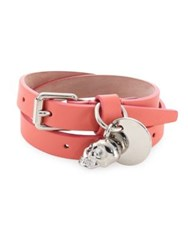 Alexander Mcqueen Leather Double Wrap Bracelet Rosewood
